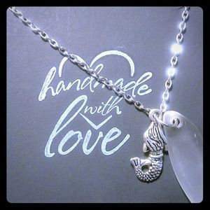 Jewelry - Handmade Beach Glass Necklace with Mermaid Charm